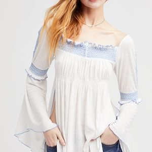 Free People Flared arm tunic blouse Sz Sm